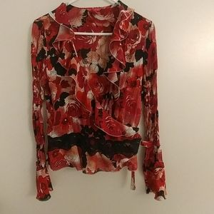 Flowery Tied Blouse